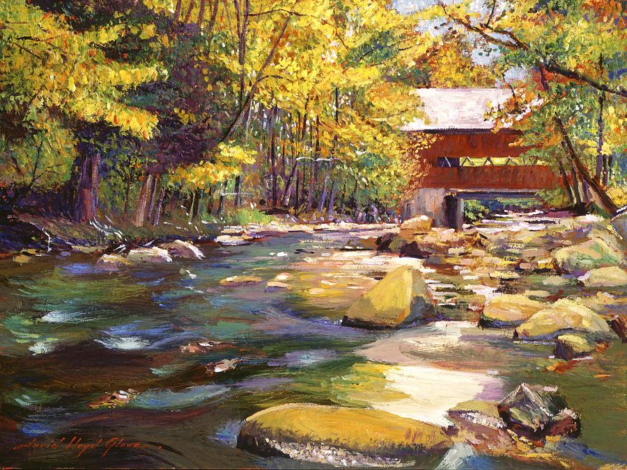 Flowing Water At Red Bridge Painting