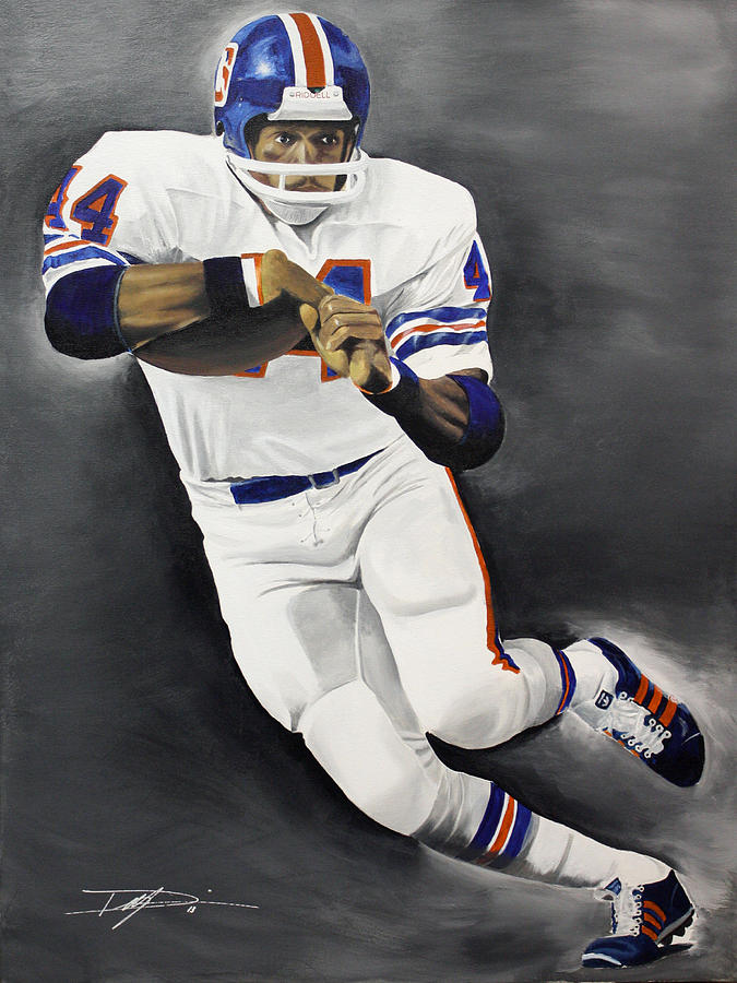 Floyd Little Drawing - Floyd Little by Don Medina