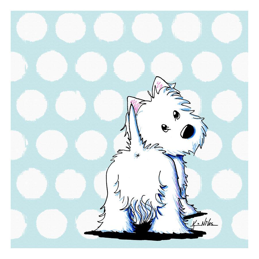 Westie Terrier Drawing - Fluffy Butt Westie by Kim Niles