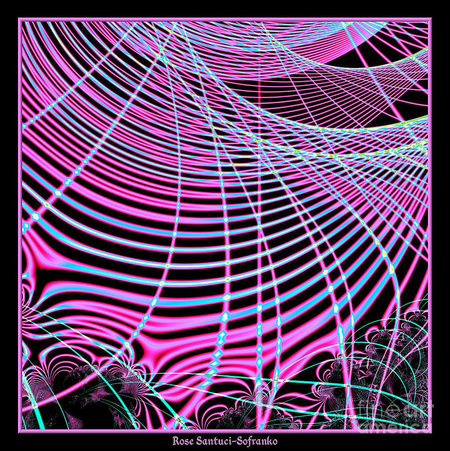 Fluorescent Neon Web Fractal 45 Digital Art  - Fluorescent Neon Web Fractal 45 Fine Art Print