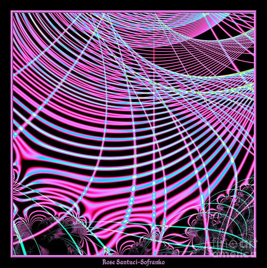 Fluorescent Digital Art - Fluorescent Neon Web Fractal 45 by Rose Santuci-Sofranko
