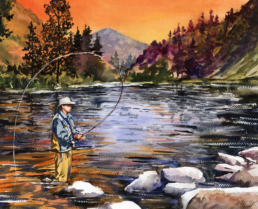 Fly Fishing At Sunset Mountain Lake Painting