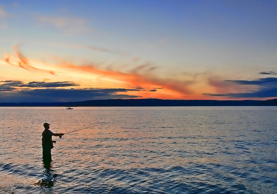 Fly Fishing  Fisherman On Puget Sound Washington Photograph