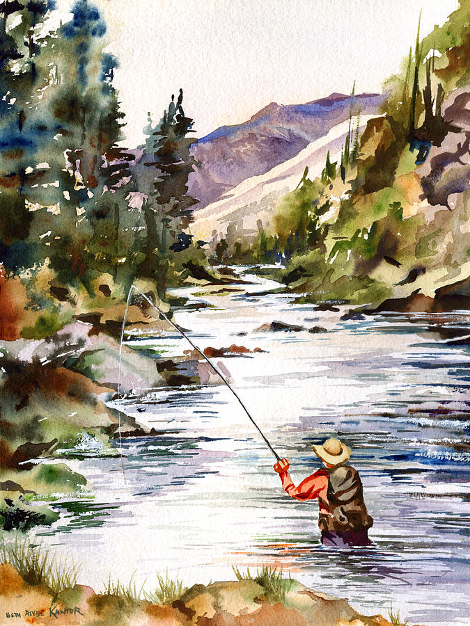 fly fishing in the mountains painting by beth kantor