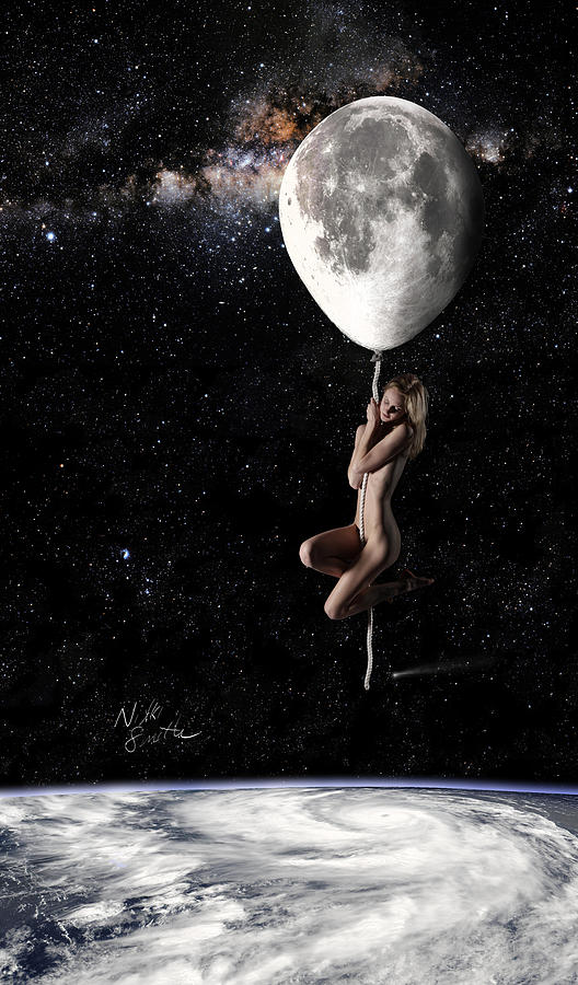 Iphone Digital Art - Fly Me To The Moon - Narrow by Nikki Marie Smith
