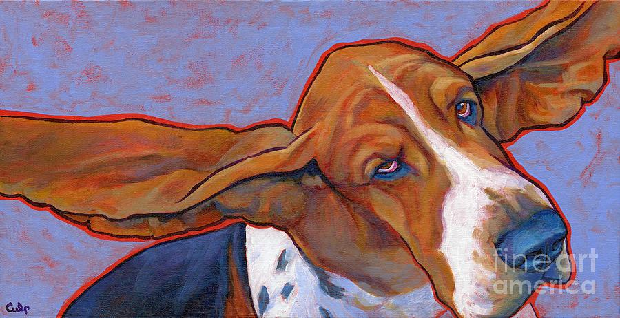 Flying Basset Hound Painting