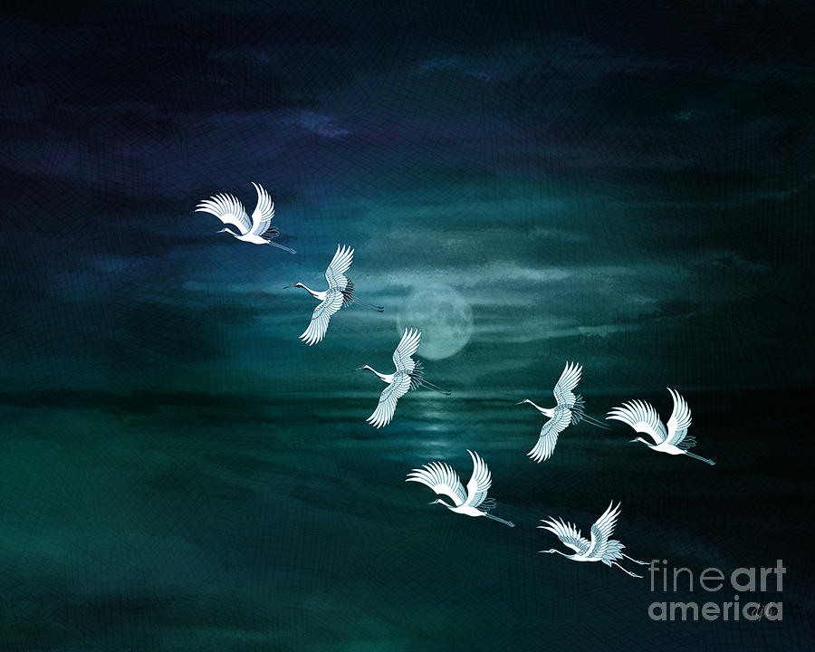 Flying By The Moon Bay Digital Art  - Flying By The Moon Bay Fine Art Print