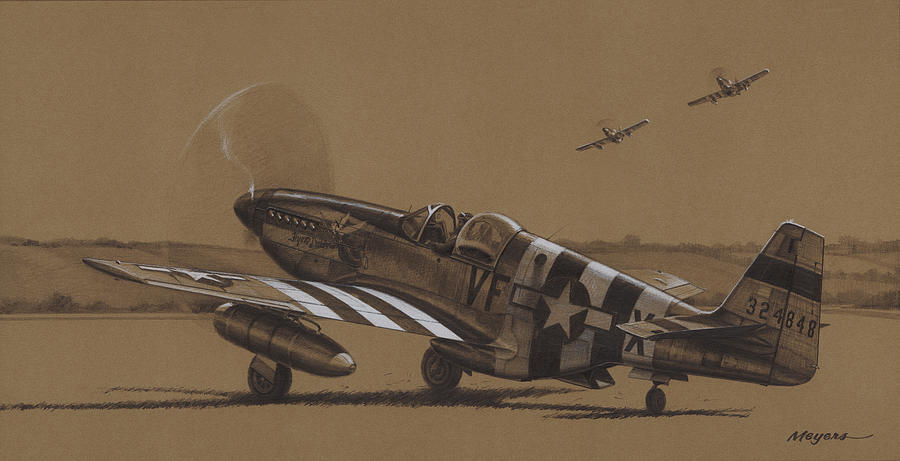 P-51 Mustang Drawing - Flying Dutchman by Wade Meyers