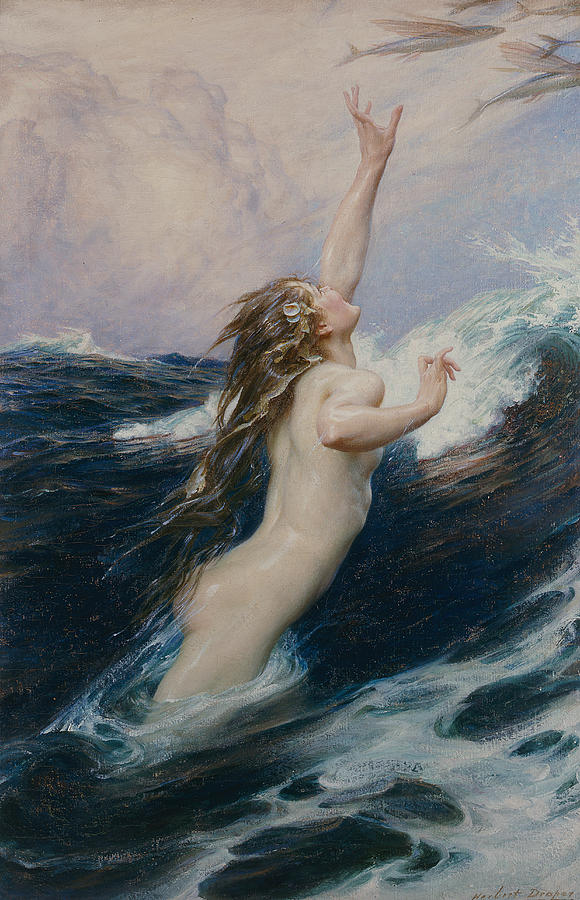 Nude Painting - Flying Fish by Herbert James Draper