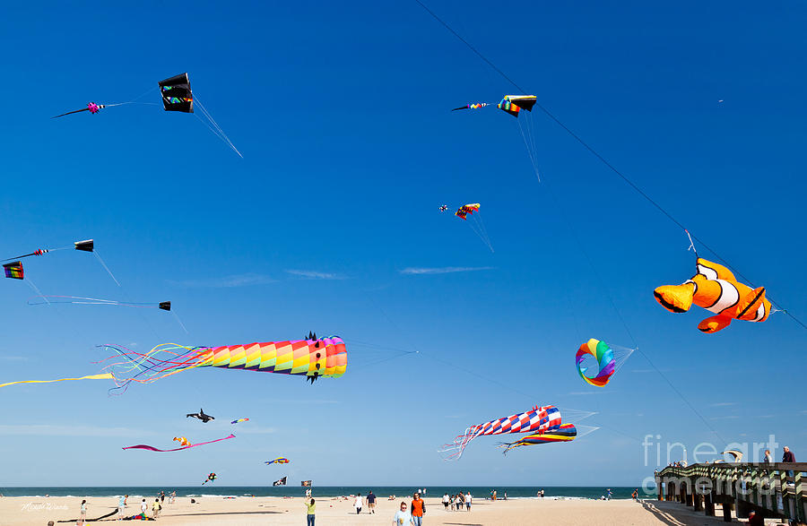 Flying Kites At St Augustine Beach Pier Photograph