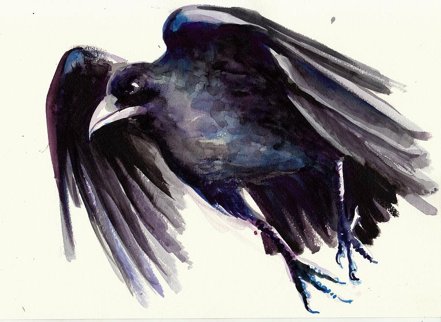 Flying raven painting