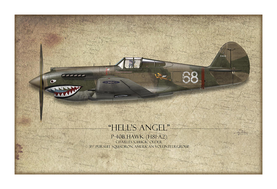 Flying Tiger P-40 Warhawk - Map Background Painting