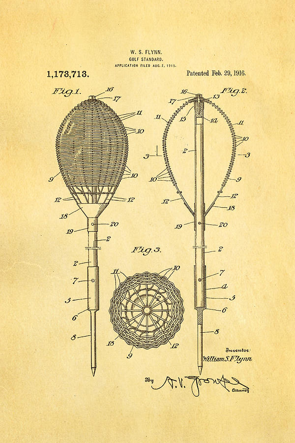 Flynn Merion Golf Club Wicker Baskets Patent Art 1916 Photograph