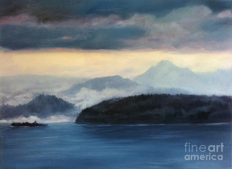 Foggy Day In Anacortes Painting