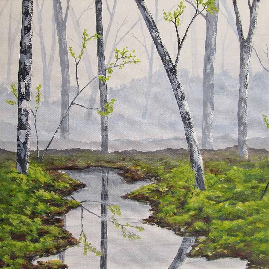 Foggy Forest In Early Spring Painting