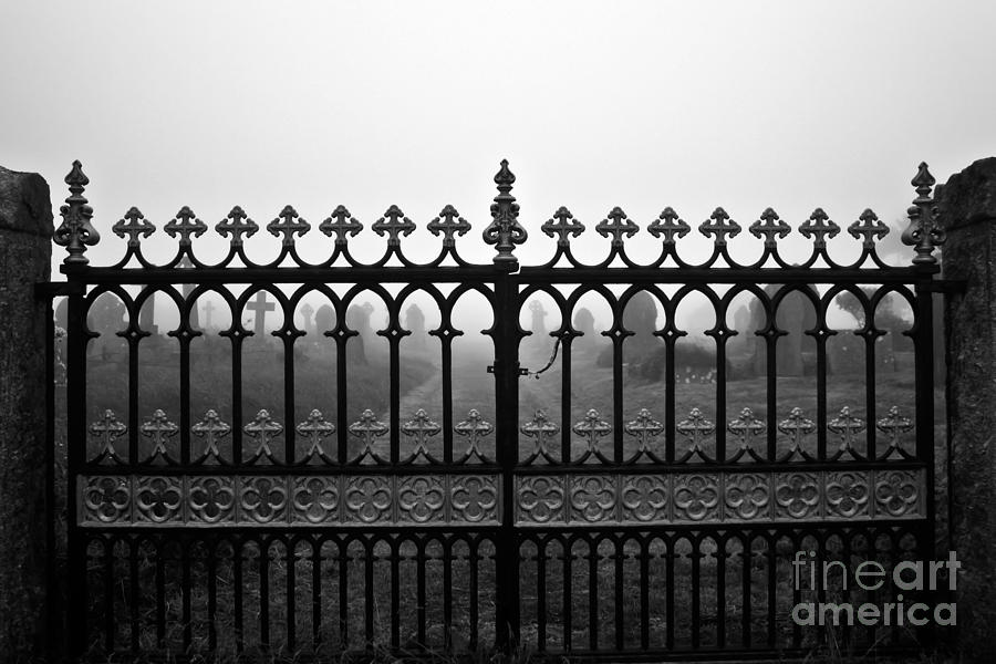 Foggy Grave Yard Gates Photograph  - Foggy Grave Yard Gates Fine Art Print
