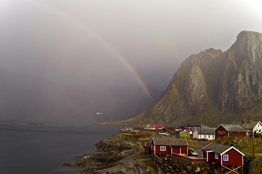 Foggy Hamnoy Rorbu Village Photograph