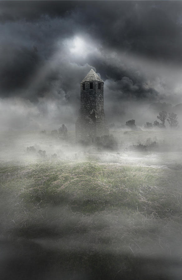 Foggy Landscape With Dark Tower Photograph