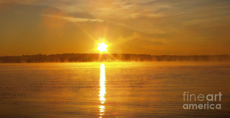 Foggy Sunrise Over Manhassett Bay Photograph  - Foggy Sunrise Over Manhassett Bay Fine Art Print