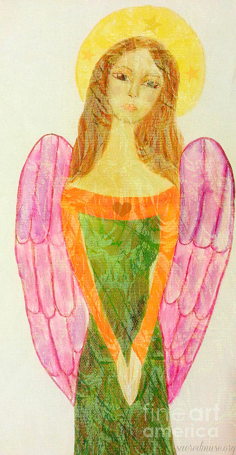 Folk Angel Protection Painting  - Folk Angel Protection Fine Art Print
