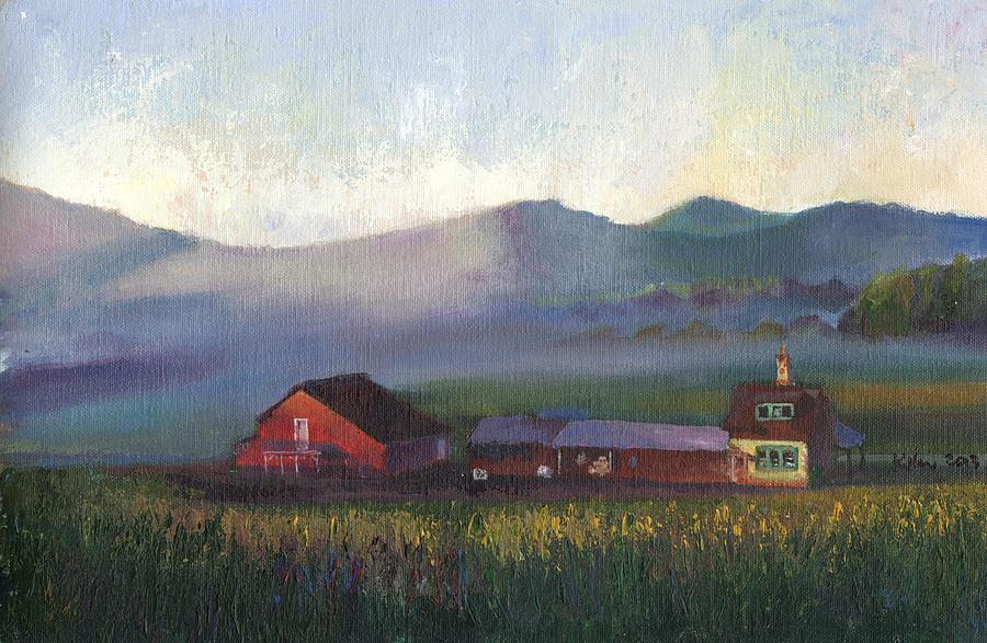 Folk School Barn At Dawn Painting
