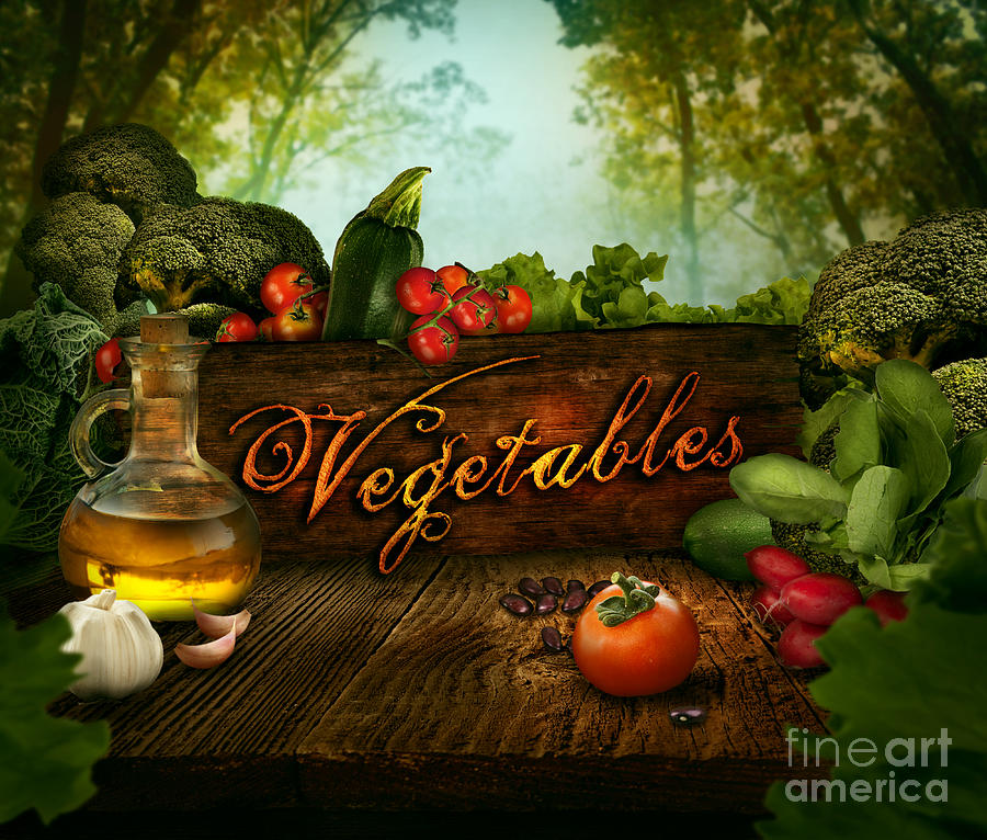 Food Design - Fresh Vegetables In Celery Forest Digital Art