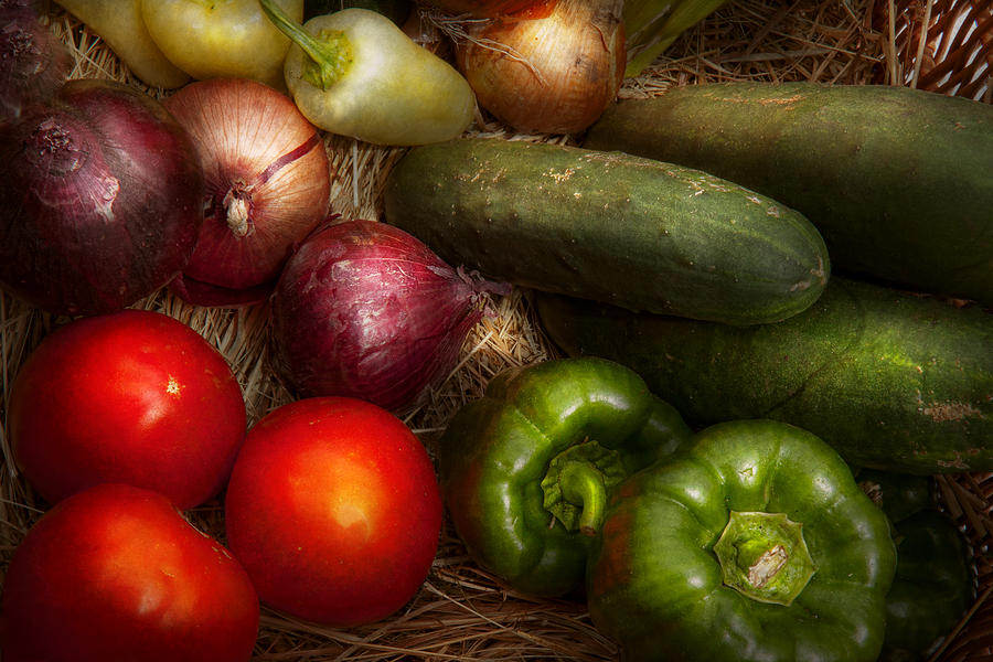 Food - Vegetables - Onions Tomatoes Peppers And Cucumbers Photograph  - Food - Vegetables - Onions Tomatoes Peppers And Cucumbers Fine Art Print