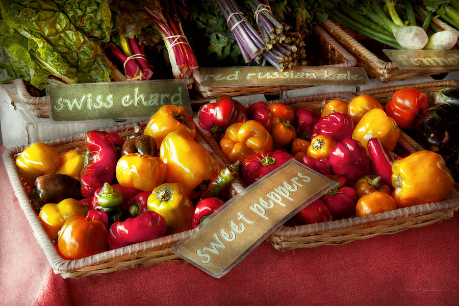 Food - Vegetables - Sweet Peppers For Sale Photograph