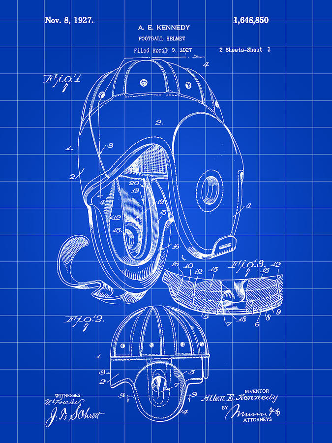 Football Helmet Patent Digital Art  - Football Helmet Patent Fine Art Print