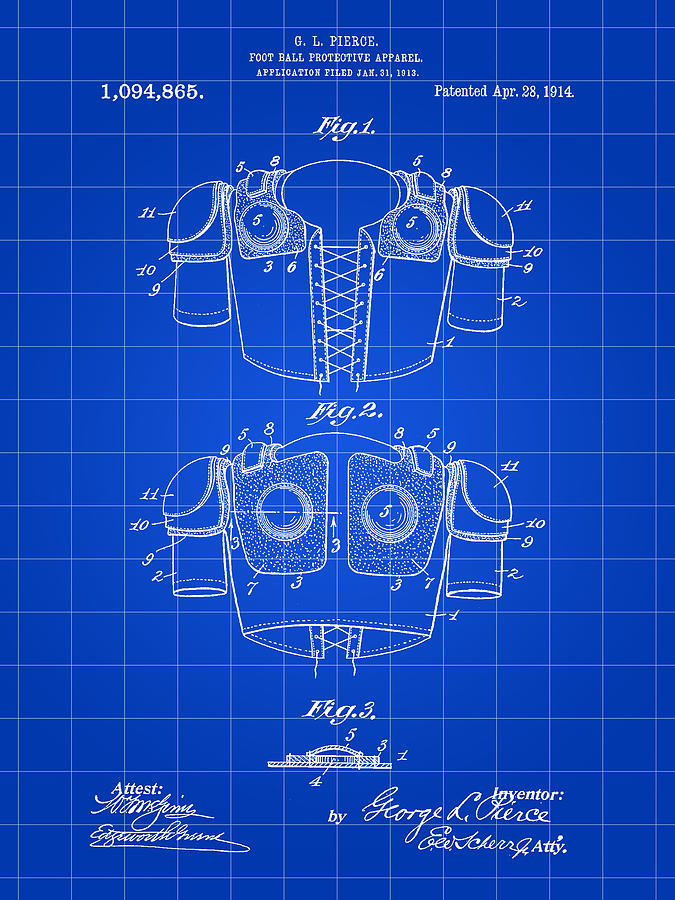 Football Shoulder Pads Patent Digital Art  - Football Shoulder Pads Patent Fine Art Print