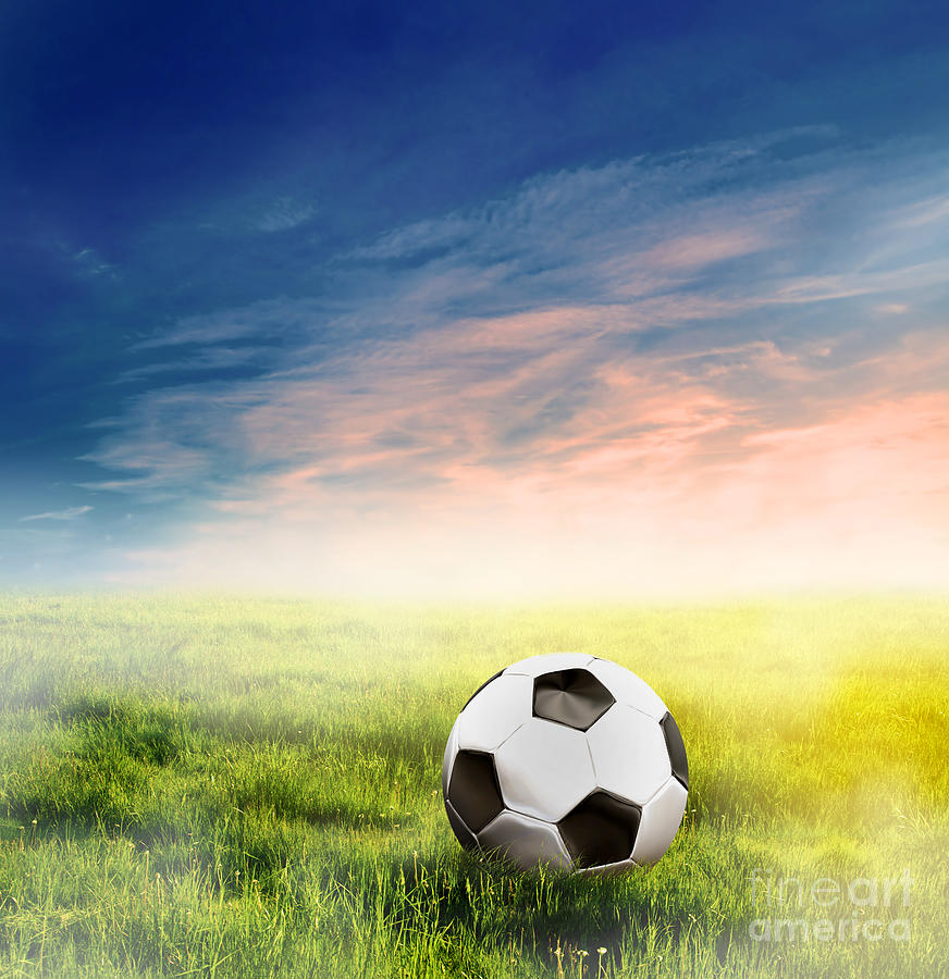 Football Soccer Ball On Green Grass Photograph  - Football Soccer Ball On Green Grass Fine Art Print