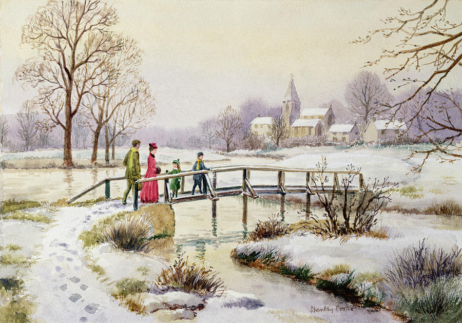 Footbridge In Winter Painting