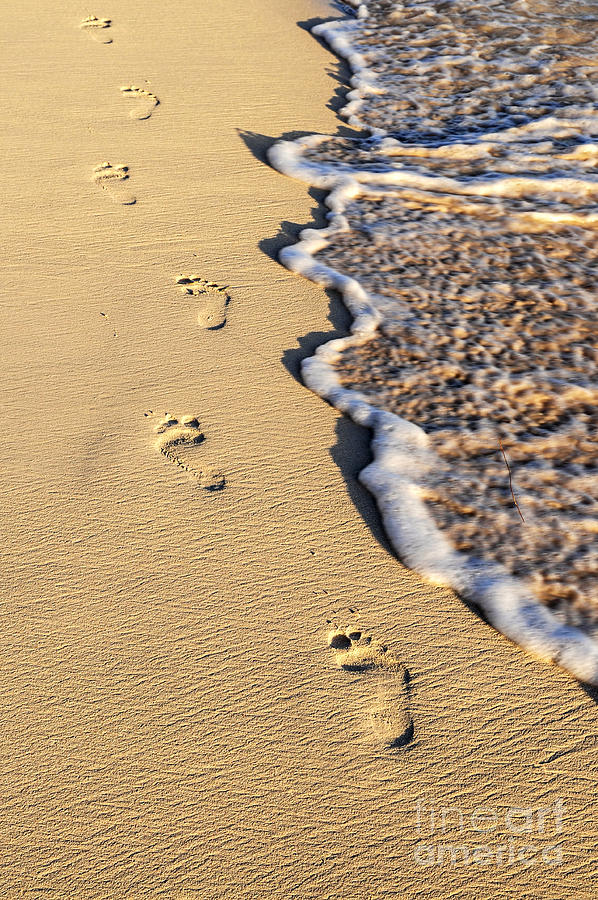 Footprints On Beach Photograph