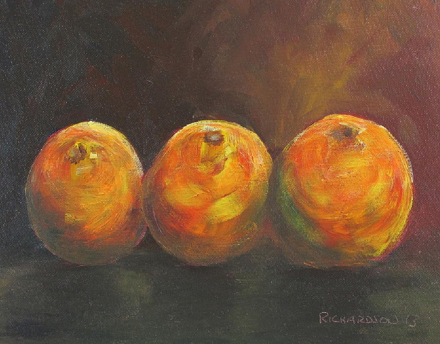 Oranges Painting - For The Love Of Three Oranges by Susan Richardson