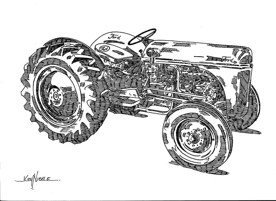 Ford 8n Tractor Drawing  - Ford 8n Tractor Fine Art Print