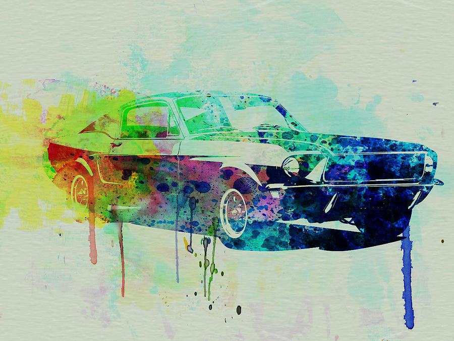 Ford Mustang Watercolor 2 Painting  - Ford Mustang Watercolor 2 Fine Art Print
