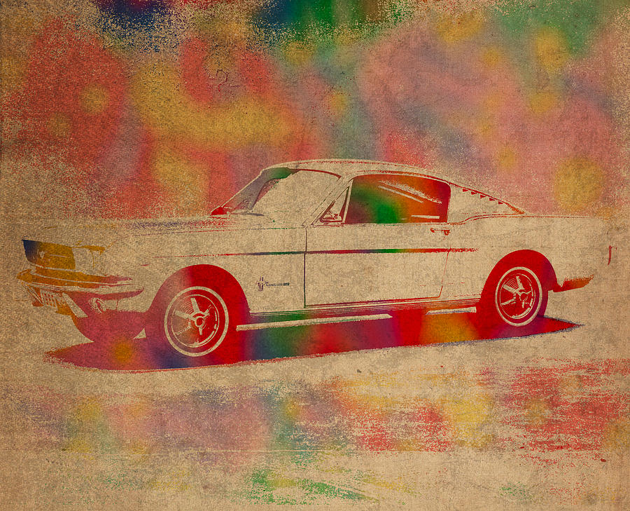 Ford Mustang Watercolor Portrait On Worn Distressed Canvas Mixed Media