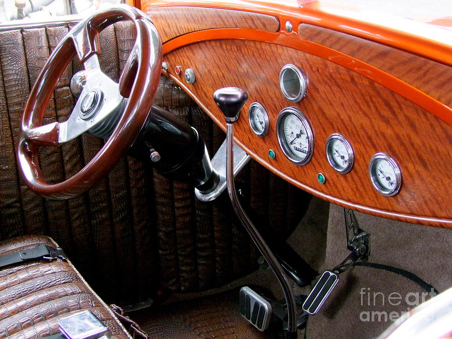 Ford V8 Photograph - Ford V8 Dashboard by Mary Deal