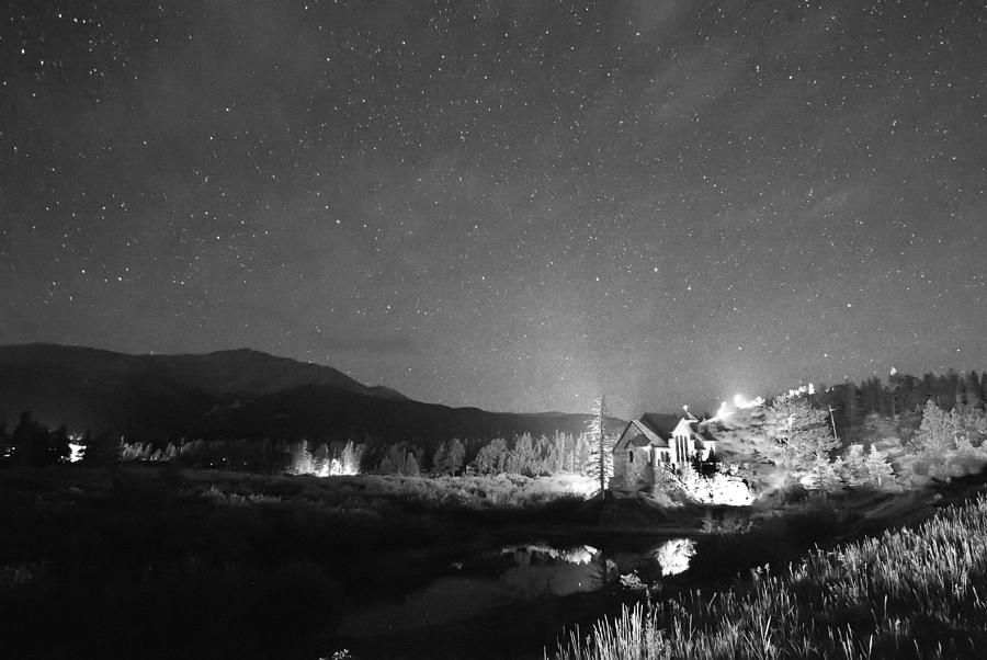 Forest Of Stars Above The Chapel On The Rock Bw Photograph