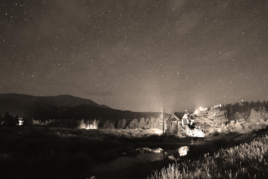 Forest Of Stars Above The Chapel On The Rock Sepia Photograph