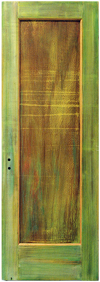 Painted Door; Photograph Of Painted Door; Texture Painting; Found Object Painting; Mixed Media With Gold Paint On Old Wooden Door; Forest; Recycled Art; Symbolic Art; Spiritual Paintings; Spiritual Entrances Painting - Forest Painted Door by Asha Carolyn Young
