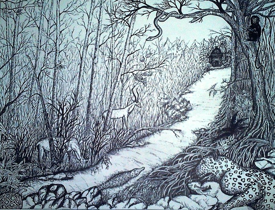 Forest pen and ink drawing by preetha jayachandran for Forest scene drawing