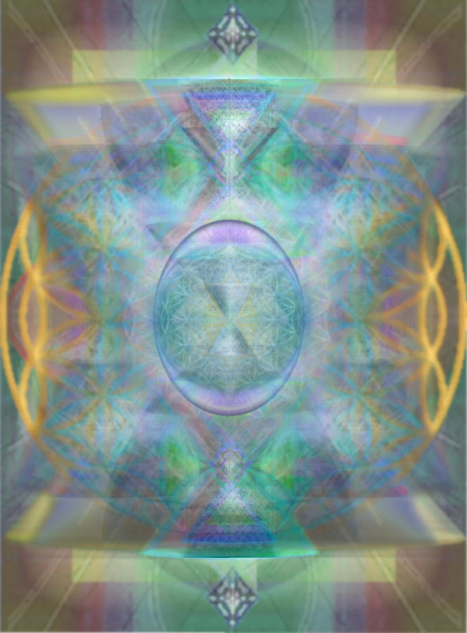 Forested Chalice In The Flower Of Life And Vortexes Digital Art  - Forested Chalice In The Flower Of Life And Vortexes Fine Art Print