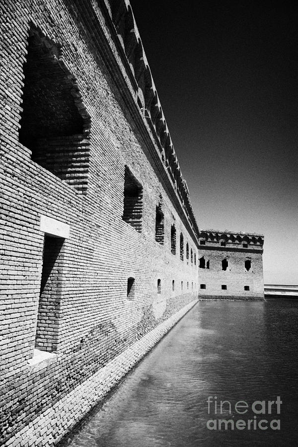 Fort Jefferson Brick Walls With Moat Dry Tortugas National Park Florida Keys Usa Photograph  - Fort Jefferson Brick Walls With Moat Dry Tortugas National Park Florida Keys Usa Fine Art Print