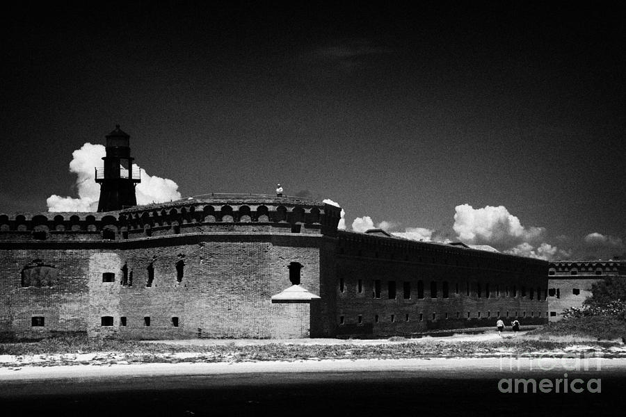 Fort Jefferson Walls With Garden Key Lighthouse Bastion And Moat Dry Tortugas National Park Florida  Photograph