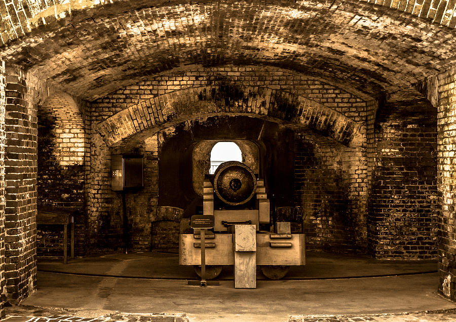 Optical Playground By Mp Ray Photograph - Fort Sumter Famous Cannon by Optical Playground By MP Ray