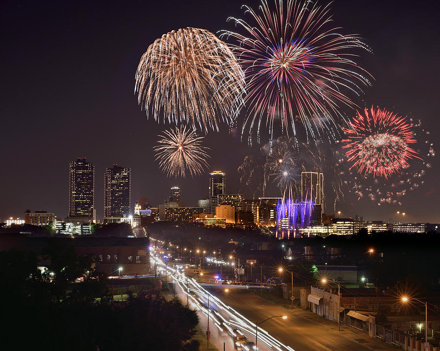 Fort Worth Skyline At Night Fireworks Color Evening Ft. Worth Texas Photograph