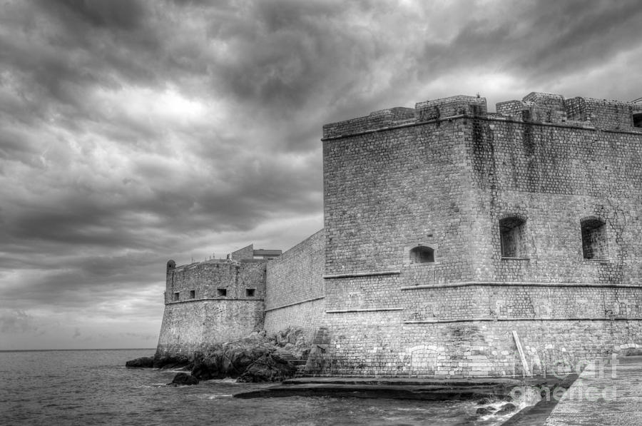 Fortified Castle Walls Against A Dramatic Sky Photograph  - Fortified Castle Walls Against A Dramatic Sky Fine Art Print