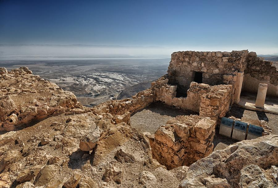 Artistic Photograph Of The Fortress Of Masada In The Desert Wilderness Israel Photograph - Fortress Of Masada Israel 1 by Mark Fuller