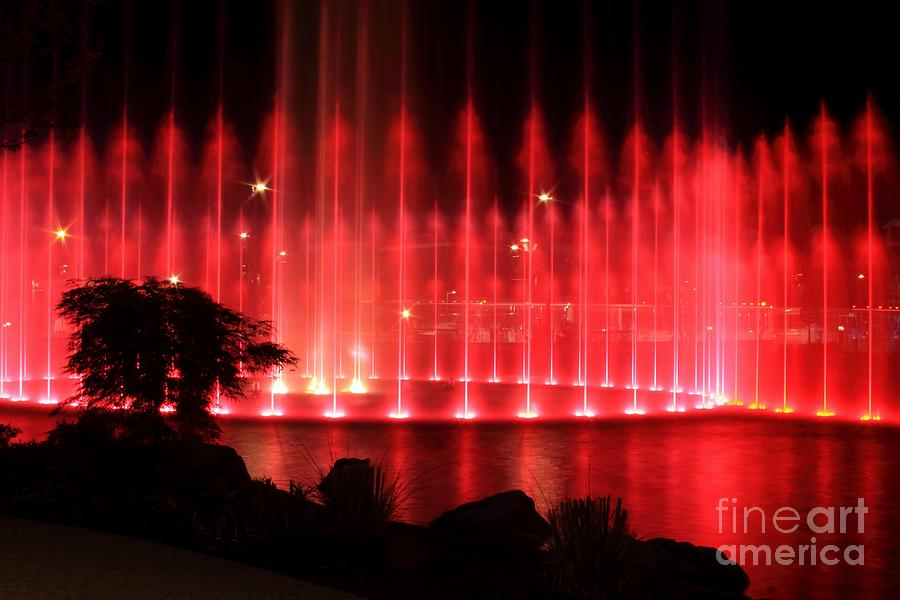 Water Photograph - Fountain Of Red by Geraldine DeBoer